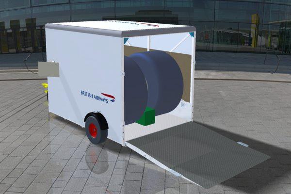 Wheel & Brake Service Trailer (WBST) SMALL with RA rear ramp – on-board Nitrogen