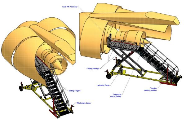 Variable Height Engine D Duct Platform H1.8m -3.0m | LH