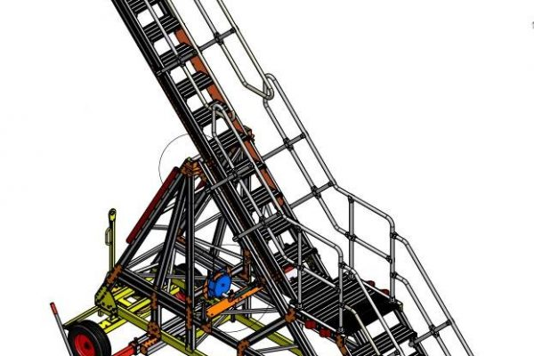 Variable Height Under Cowl Access Steps 3.5 – 5.0m UCAS XXL Towable (collapsible for transportation)