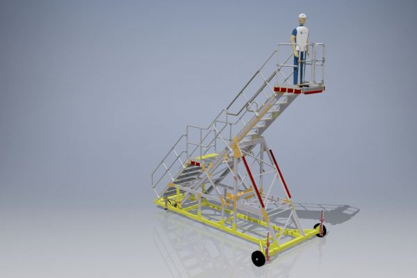 Variable Height Hangar Maintenance Under Cowl Access Steps 3.0 – 4.5m UCAS XXL (collapsible for transportation)