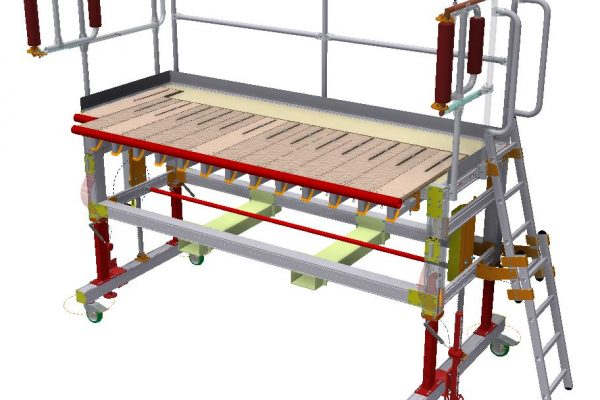 Engine Strip and Repair Variable Height Access Platform with Ladder