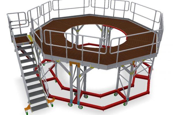 Octagonal Fixed Height Engine Strip/Build Access Platform